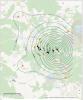 Mapka z warstwicami przyspieszeń dla wybranego wstrząsu